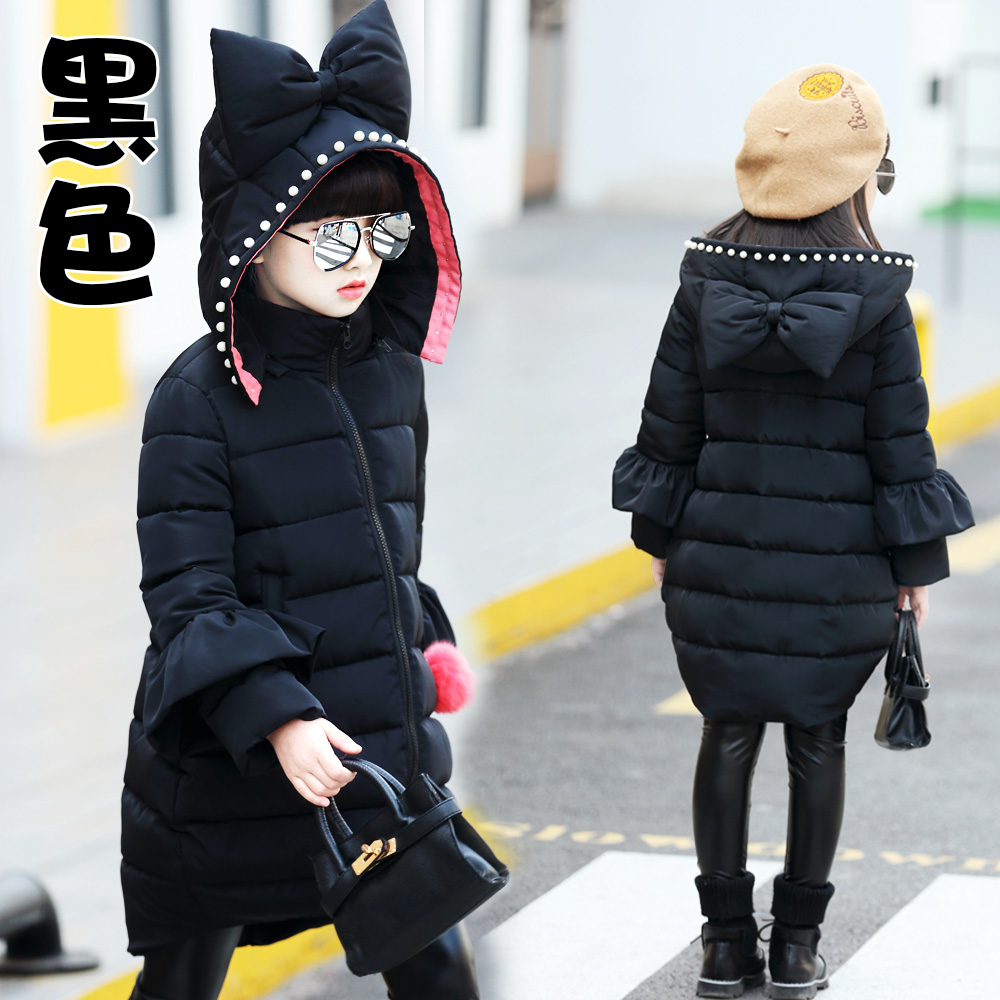 Girls winter jacket coat cotton padded cute long hooded outerwear fashion size for age 4 5 6 7 8 9 10 11 12 13 14 years children<br>