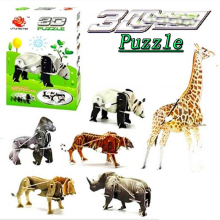 SAINTGI 3D power puzzle Animals giraffe rhino lion panda Gorilla tiger Miniature Doll Mini walk DIY Building Model Toys kids