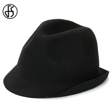 FS Black Wool Felt Fedora Hat For Women Roll Up Brim Fashion Vintage Ladies Jazz Hats For Church Bowler Panama Cap(China)