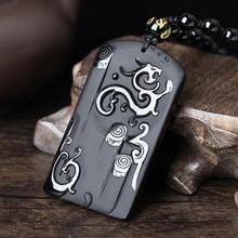 Drop Shipping Natural Carved Black Obsidian Dragon Lucky Amulet Pendants Chinese Dragon And Phoenix Pendant Fashion Jewelry
