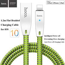 HOCO 2.4A Metal USB Flat Braided Smart Auto Power Off LED Fast Charging Charger Cable For iPhone 7 6 6s Plus 5 5S iPad iOS 10
