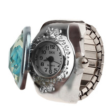 2017 New Hot Creative Fashion Retro Rose Finger Watch Clamshell Ring Watch Z717