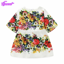 Kimocat Baby Girl Clothes High Quality Flowers Embroidered Cotton Medium Sleeve Princess Dress Jacquard Spring Autumn Clothing(China)