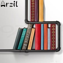 Iron Industrial Urban Style Pipe Books Shelf Storage Shelving Home Study Books Holder Organizer Vintage Storage Tools Supplies