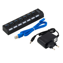 Hot Worldwide 7Ports USB 3.0 Hub with On/Off Switch+EU/US AC Power Adapter for PC Laptop Drop Shipping