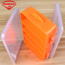 High Strength Transparent Plastic Fishing Tackle Box For Fishing Lure Orange Two Side Open Fishing Spoons Accessories