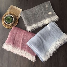 [SLKSCF] 180X65CM Fashion Plain Linen Scarf Literature Art Pure Linen Scarves Female 100% Linen Hijabs Sunscreen Capes for Women(China)