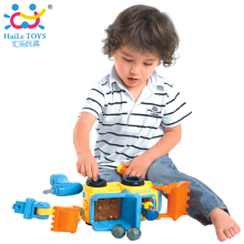 Children DIY Electric Toys Vehicle Car Engineering Cement Mixer Truck Toy with Lights and Music for Kids Boys HUILE TOYS 566CD(China)