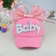 2017 Brand New Summer Children Kids Pearl Flower Bow Peak Cap Baseball Cap Hat For Girls Children Adjustable Snapback Casquette