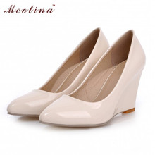 Meotina High Heels Women Wedge Heels Shoes Woman Pumps Pointed Toe High Heels Wedges Female Plain Apricot Shoes Large Size 42 10