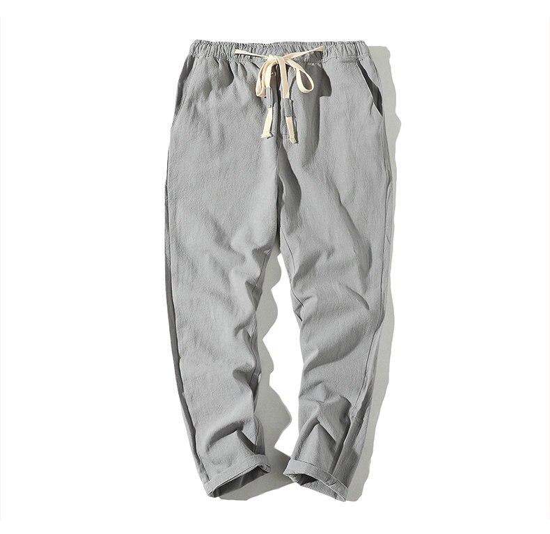Cotton Linen Joggers Light Grey Men's Harem Pants 6
