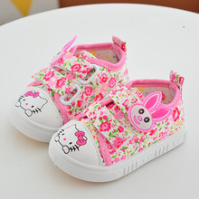 Girl casual Shoes children 's shoes Spring 2017 NEW Kids Canvas Hello Kitty Flat Shoes Flower 2 Color baby Girl's Toddler Shoes