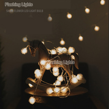 Battery 3M 24 LED Furry Snow Ball Edelweiss Led Christmas String Lights for Garden Home Decor Wedding party Garland Decorations