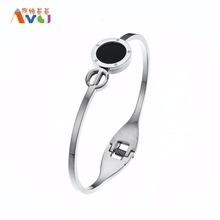 Stainless Steel Enamel Bangle Bracelet For Women Jewelry Geometric Open Close Charm Bangle SLBXG15(China)