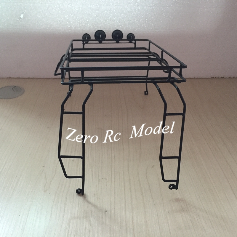 1 10 rc truck metal roll cage roof rack for rc land rover defender 90 with led lights body