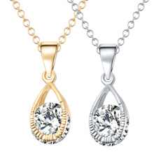 Buy Wedding Bridal Jewelry Women Small Teardrop Cubic Zirconia Rhinestone Crystal Pendant Necklace Gold-color Chain Necklace for $1.60 in AliExpress store