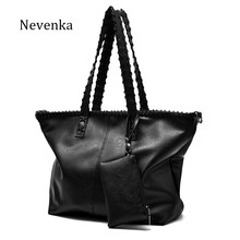 Nevenka Famous Brand Women Pu Leather Composite Bag Solid Black Shoulder Bags Casual Tote High Quality Fashion Style Handbags(China)