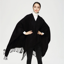 2017 European Solid Black Color Double-Sided Women Poncho Cape Cashmere Scarf Retro Scarves PJ015