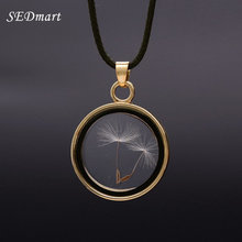 SEDmart Real Dandelions Seed Floating Locket Glass Pendant Necklace Women's Novetly Plants Wish Locket Necklaces Jewelry Female(China)