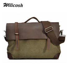 Wilicosh Genuine Leather Men Handbags with Canvas Real Crazy Horse Leather Men's Shoulder Messenger Crossbody Bags Tote DB5095