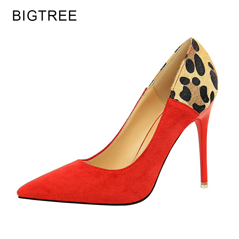BigTree Leopard High Heels Women Shoes Thin Heels Pointed Toe 10.5 CM Sexy Red Women Pumps 2018 Spring New Female Shoes 34 39<br>