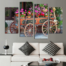 Rushed Painting On The Wall Art Cuadros Decor 4Pcs Artistic Canvas Paintings Nature Flowers Landscapes Vehicles Modular Pictures(China)