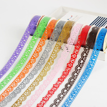 3 PCS Lace Tape Decoration Roll Candy Colors DIY Washi Decorative Sticky Paper Masking Tape Self Adhesive Tape Scrapbook Tape