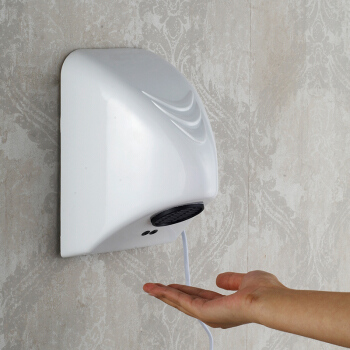 Yan YN2201 White Resistant Home Small Size Hot Air Type Automatic Induction Bathroom Hand Dryer<br>