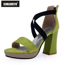 SIMLOVEYO Women sandals High heels Ladies summer shoes Zipper Low platform Flock Cross Fashion Solid Big size 40 41 42 43 RL3214
