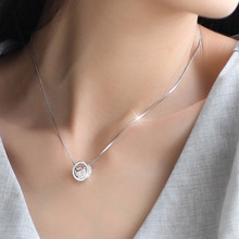 New 925 Sterling Silver Cube Circle Zircon Necklaces Pendant Fashion Sterling Silver Jewelry Statement for Women Bijoux
