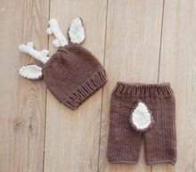 Deer Pattern Crochet Baby Hat Newborn Costume Set,Knit Newborn Baby Photography Props Animal Hats,Christmas Baby Clothes,#P0563
