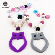 Let's make Nursing Necklace With Owl Silicone/Wooden Beads Crochet Food Grade For New Mommy  Baby Teether Necklace