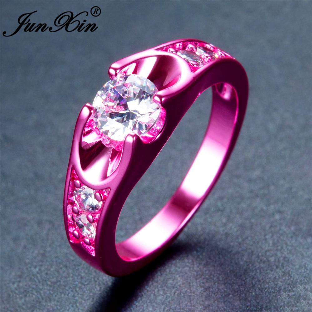 JUNXIN Brand Geometric Design Female Fire Opal Ring Fashion Blue ...