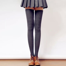 Sexy Women Warm Long Stocking Cotton Over Knee Stocking Girls Winter Knitted Knee High Thigh Stockings(China)