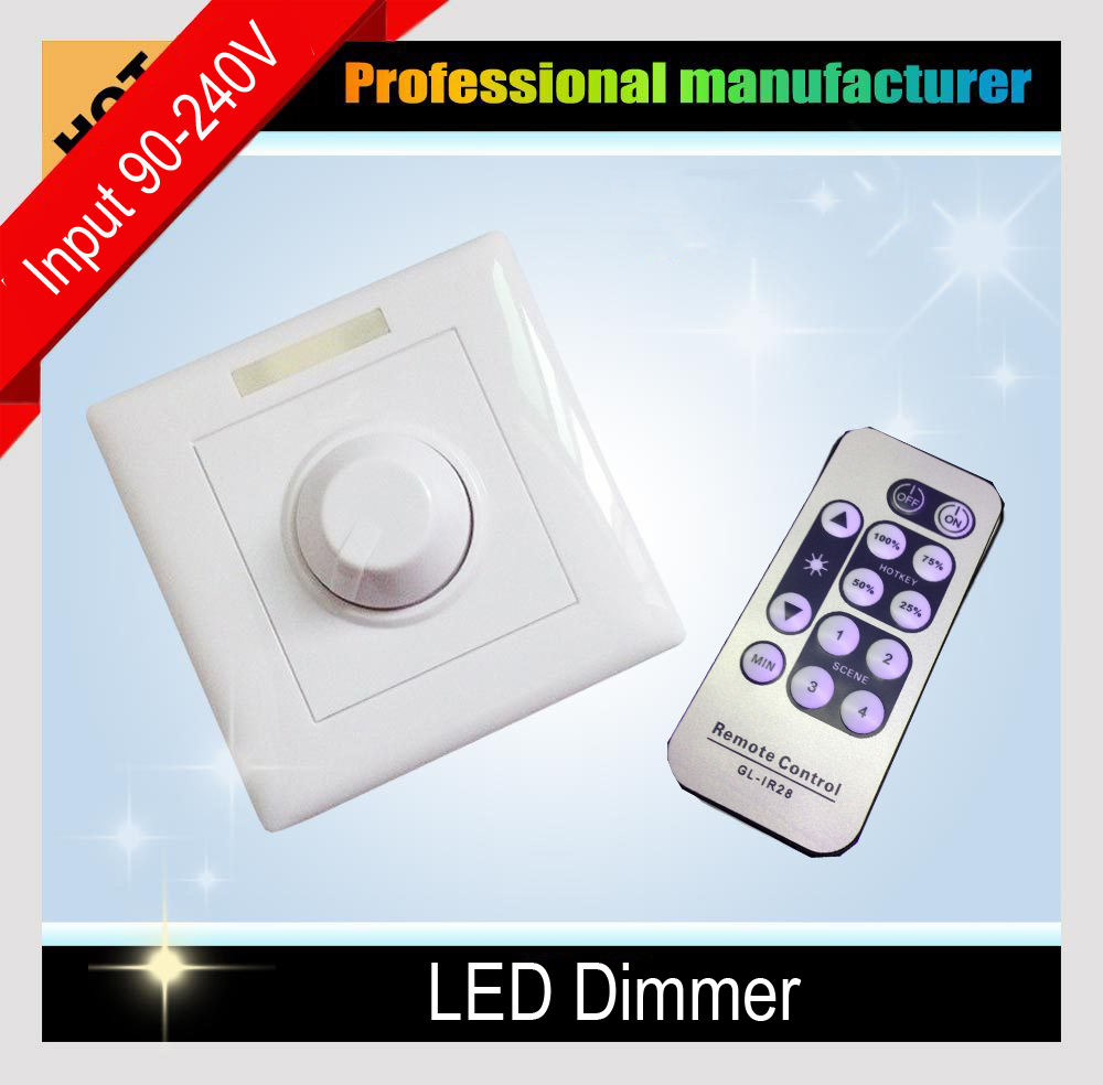 LED Dimmer 220V 110V with IR Remote Control Dimmer Wall mounting for Indoor Home Max. 300W LED Bulb Lights Ceiling lamp<br><br>Aliexpress
