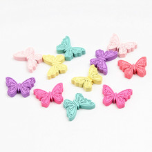 40Pcs Wood Beads 21mm Butterfly Mix Color Spacer Wooden Beads for DIY Baby Crafts Kids Toys & Pacifier Clip