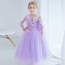 New Arrival Lavender Flower Girls Prom Dress Batwing Sleeve Girls Wedding Dresses Summer 2017 New V Neck Children's Clothes P13