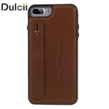 For iPhone 7 Plus 5.5 inch Card Holder PU Leather Coated Flexible TPU Case Accessory with Handle Strap - Brown
