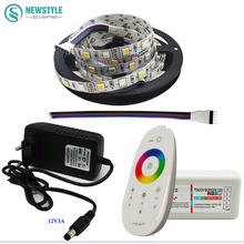 DC12V 5050 RGBW/RGBWW Led Strip Light Waterproof FlexibleTape Ribbon SMD + RF Touch Remote Controller + 3A Power Adapter Supply