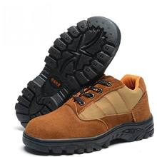 Plus Size 36- 46 New Brown Nubuck Leather Women Shoes Steel Toe Cap Lace-Up Women Flats Work Safety Shoes