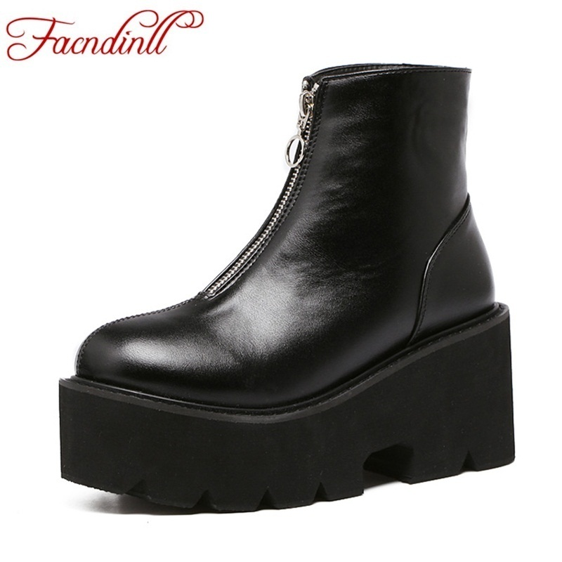 FACNDINLL spring autumn shoes front zip punk boots leather women ankle boots ladies casual platform shoes motorcycle botas mujer<br>