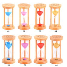 1 PC New 3 Minutes Wood Frame Glass Sand Sandglass Hourglass Timer Clock Time Decor Gift P50(China)
