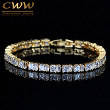 CWWZircons Stylish Square Cut Sparkling Cubic Zirconia Yellow Gold Color CZ Women Tennis Bracelet With Extension CB192