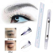2Pcs Microblading Tattoo Marking Pen Eyebrow Skin Marker Pen With Measure Measuring Ruler 2JU28(China)