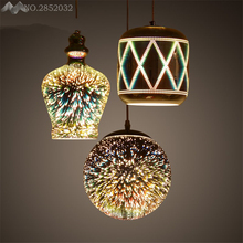 Modern Loft creative personality iron 3D pendant lamp reflective mirror plating Fireworks pendant light home lighting fixtures