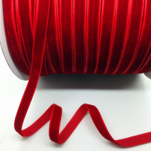 "5 Yards 3/8 ""10mm Deep Red Velvet Ribbon Headband Clips Bow Wedding Decoration"
