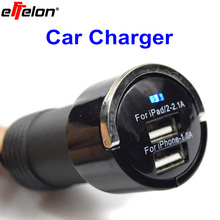 Effelon Universal 5V 3.1A Mini Ring-Pull USB 2 Ports Car Charger For iPad/iPhone Mobile Phone Car Charger Adapter(China)