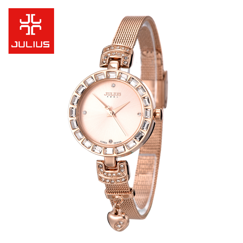 Julius Lady Womens Watch Japan Quartz Hours Steel Fashion Dress Heart Bracelet Cute Fine Girl Birthday Valentine Gift Box<br>