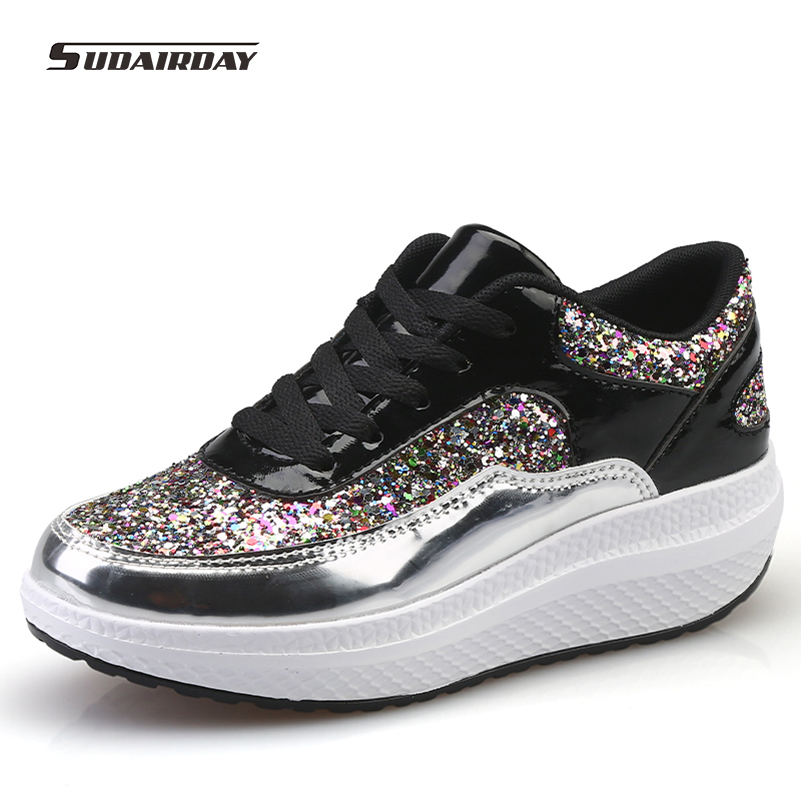 2016 New Autumn Women Glitter Flat Platform Casual Shoes Woman walking Shoes Breathable Woman Slip On Flats zapatillas mujer<br>