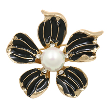 baiduqiandu brand Factory Direct Sale Black Enamel Five Petals Flower Fashion Brooch Pins for Women with a simulated pearl